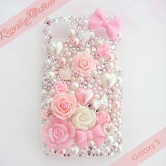 Pink Roses & Bows Galaxy S Decoden Case | $45.00    SHOP: www.etsy.com/shop/kawaiixcoutureHandmade decoden phone cases, jewelry, & accessories ♡