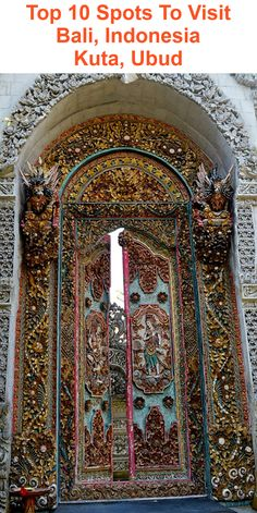 When you travel in SE Asia you become to the gilded and ornate especially in the wats (temples) These are the interior doors to the Royal Place in Ubud, Bali and are the most ornate doors I have ever seen. Door Entryway, Entrance Doors, Doorway, Bali Honeymoon Resorts, Cathedral Architecture, Indian Architecture, Portal, Brunei, Timor Oriental