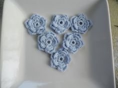 Light Blue Crocheted Double layer Flower by needlepointnmore,