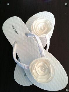 0b089fbca142 ivory Bridal Flip Flops   Wedding Flip Flops   Design Your Own   Flower Flip  Flops
