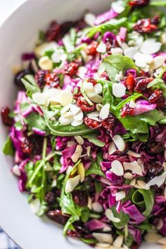 A simple, peppery & slightly sweet salad, this Purple Cabbage & Arugula Salad with Easy Dijon Vinaigrette is a perfect one to keep in your back pocket. Purple Cabbage Salad Recipe, Purple Cabbage Recipes, Cabbage Salad Recipes, Salad With Cabbage, Healthy Salad Recipes, Raw Food Recipes, Veggie Recipes, Soup Recipes, Gastronomia