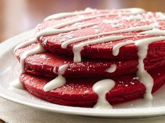 Move over red velvet cake, its breakfast time with Red Velvet Pancakes made with Bisquick®! But wait, they wouldn't be complete without a wonderful rich and creamy cream cheese topping---yum!