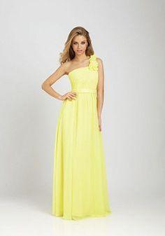 Chiffon A line One Shoulder Natural Waist Floor Length Sleeveless Bridesmaid Dress - Angeldress.co.uk