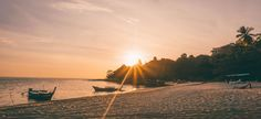 Sunset setting right in front of the beach at Adang Island Resort, Koh Adang , Thailand