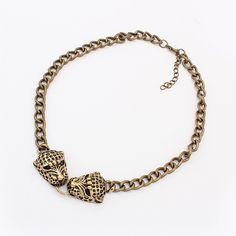 metal leopard head necklace
