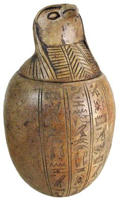 Authentic Ancient Egyptian artifacts canopic jar with Horus on the stopper 1570 - 1085 BC