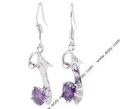 31x7mm 925 Sterling Silver Amethyst Heels Style Jewellery Dangle Earring