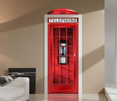 Red English Phone Booth Repositionable Door or Wall Graphic - Images and Words Graphics