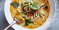 We've taken our courgetti obsession to the next level with this easy, healthy Thai coconut courgetti soup. Starting with room temperature courgettes means the soup won't cool down much when you pour it into the bowl and the courgette won't go soggy.