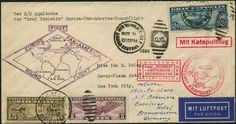 Catapult flight and Zeppelin combination, Bremen 16. 6. 30, USA-Post, cover from New York 6. 5. 30 with high quality 2.60 $ Zeppelin to Frie...