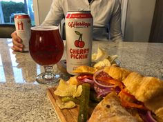 GL Heritage Cherry Pickin' sessional Wheat Beer with Stacked Meat Sandwich. Food Plus, Meat Sandwich, Wheat Beer, Essex County, Sour Cherry, Wineries, Brewery, Sandwiches, Meals