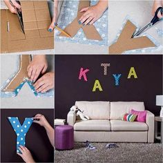 How to DIY Easy Letter Wall Decals | iCreativeIdeas.com Like Us on Facebook ==> https://www.facebook.com/icreativeideas