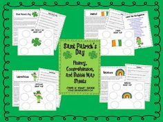 FREE St. Patrick's Day Fluency, Comprehension, and Bubble Map Sheets - Includes St. Patrick's Day, Ireland, Leprechauns, and Rainbows!