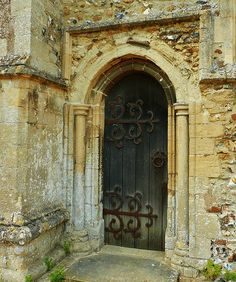 Church door in Woolpit, England