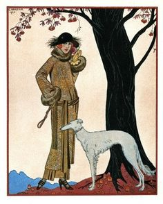 Woman with a greyhound, Art Deco, by Barbier.