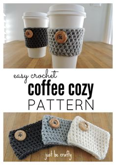 35 Easy Crochet Patterns - Crochet Coffee Cozy Pattern - Crochet Patterns For Beginners, Quick And Easy Crochet Patterns, Crochet Ideas To Try, Crochet Ideas To Make And Sell, Easy Crochet Ideas http://diyjoy.com/easy-crochet-patterns