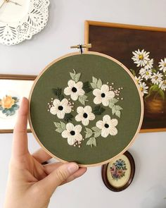 I love the vintage feel to this green fabric. She is available for purchase in my Etsy shop! Embroidery Transfers, Hand Embroidery Stitches, Modern Embroidery, Embroidery Hoop Art, Hand Embroidery Designs, Vintage Embroidery, Ribbon Embroidery, Floral Embroidery, Cross Stitch Embroidery