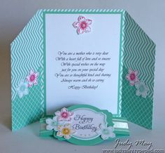 3/14/2014; Judy May on her blog; here is her Double Z Fold card opened with the belly band; LOVELY