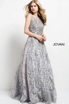 Silver Embroidered Cap Sleeve A-Line Evening Gown 47762  Jovani  BallGown   FormalDress e4ac4bdad