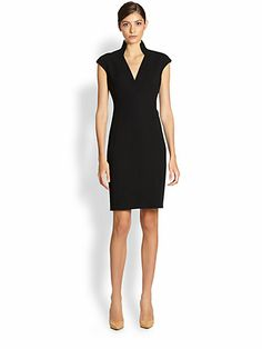 Akris, Double Face Wool Dress - For appearances where you will have makeup on set to offset dark color under studio lights. Work Dresses For Women, Stylish Clothes For Women, Stylish Outfits, Dress Outfits, Fashion Dresses, Frack, Wool Dress, Crepe Dress, Looks Style