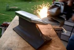 If you are into blacksmithing or metal working learn how you can turn an old piece of railroad track to blacksmithing anvil. Reusing or repurposing of Metal Projects, Welding Projects, Metal Crafts, Welding Ideas, Diy Projects, Welding Crafts, Railroad Track Anvil, Railroad Tracks, Railroad Spikes