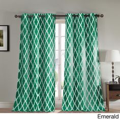 Duck River Donna Geometric Print Blackout Curtain Panel Pair (Emerald), Green, Size 84 Inches