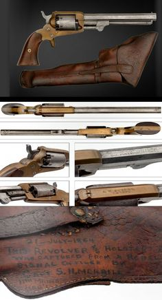 An extremely rare Confederate Cofer Third Type revolver in its Original Holster Captured by Main Captain S. Merrill, 1864 see writing on holster. Something with the kids of pressing leather. Foam and something to push with? Rifles, Airsoft, Gun Holster, Holsters, Black Powder Guns, Lever Action, Bushcraft, Cool Guns, Le Far West