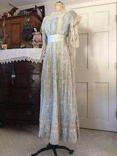 Edwardian Pale Blue Printed Cotton/Silk Blend Dress