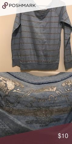 Poof! Heather Blue and Grey Striped Shirt Adorable silver and heather blue striped sweater. Lightweight, cozy, and casual. Like new condition. Poof! Tops