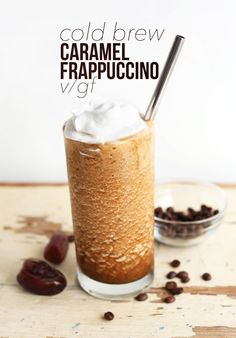 EASY 3 ingredient Caramel Frappuccino with Almond Milk Ice Cubes, Cold Brew Coffee, and Date Caramel! #vegan #glutenfree #coffee #frappuccino #recipe #summer #beverage