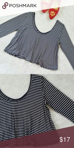 "Flash SaleHollister Striped Flowy Crop Top Hollister striped long sleeve crop top. Size small. Loose fit. Pit to pit is 19"" flat. In great pre-loved condition. Hollister Tops Crop Tops"