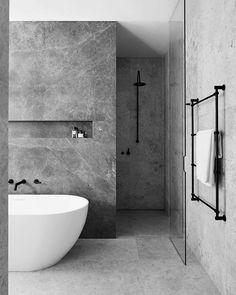 ideas bath room tiles black grey interior design for 2019 Contemporary Bathrooms, Modern Bathroom Design, Bathroom Interior Design, Interior Decorating, Modern Contemporary, Bath Design, Bathroom Designs, Modern Design, Decorating Ideas