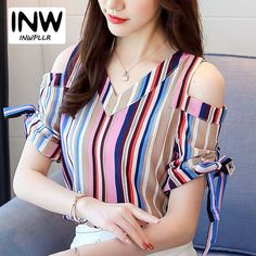 Cheap Women Tops And Blouses 2018 Fashion Colorful Striped Blouse Shirt Fem . African Fashion, Korean Fashion, Stylish Dresses, Fashion Dresses, Kurti Designs Party Wear, Blouse Designs, Blouses For Women, Ladies Blouses, Couture