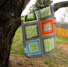 Modern Baby Blanket Gray Baby Blanket Bugs Gray by TwiggyandOpal, $45.00