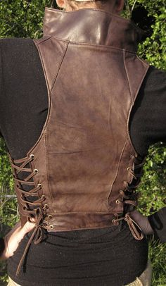 Pagan Vests Wicca Witch:  Leather #vest with side laces.