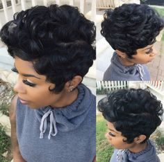 Quick-Weave-Short-Hairstyle Best Short Pixie Hairstyles for Black Women 2018 – 2019 Short Pixie Wigs, Curly Pixie Hairstyles, Black Girls Hairstyles, Short Hair Cuts, Curly Hair Styles, Natural Hair Styles, Pixie Crop, Pretty Hairstyles, Short Quick Weave Hairstyles