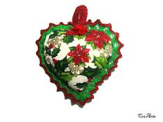 Christmas fabric heart with Green and Red lace Christmas