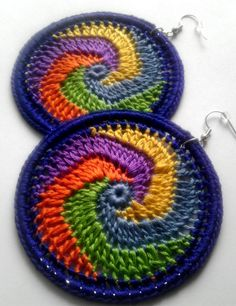 Rainbow Cosmic Swirl Crochet Hoop Earrings by ImpressiveDesigns, $10.00