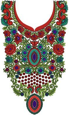 Fashion Women Neck Embroidery Design 14050
