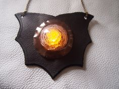 SALE Light Up Leather Necklace Bat  Dark by WearLightFantastic, $25.00