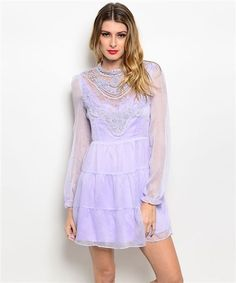 Modcloth Lulus Ark & Co Mesh Lavender Vintage Victorian Crochet Chiffon  Dress L #ArkCo #EmpireWaist #Cocktail