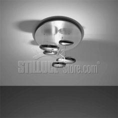Ampliamento di gamma della serie Mercury, in dimensioni ridotte, disponibilie in versione alogena e LED. Materiali: struttura in acciaio verniciato; riflettore in acciaio inox e alluminio verniciato; corpi riflettenti in materiale termoplastico stampato ad iniezione con finitura cromata; corpi luminosi in alluminio cromato. Colori: riflettore: grigio metallico; ciottolo: specchio. Emissione di luce: indiretta Sorgente: Halo max 1x160W eco (resa 200w) R7s HDG – dimmerabile - inclusa