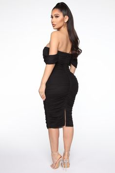 Available In Pink And Black. Bandage Midi Dress Off Shoulder Ruched Hidden Back Zipper Stretch Shell: 92% Nylon 8% Spandex Lining: 95% Polyester 5% Spandex Imported   Bad For The Night Bandage Midi Dress in Black size Small by Fashion Nova Curve Dresses, Nice Dresses, Bodycon Fashion, Fashion Dresses, Pink Midi Dress, Dress Black, Swimsuits For Curves, Affordable Dresses, Curves Clothing