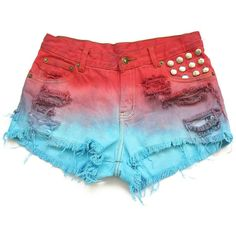 Dyed and studded jean shorts M ($40) ❤ liked on Polyvore featuring shorts, bottoms, denim short shorts, studded jean shorts, denim shorts, studded denim shorts and jean shorts
