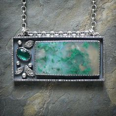 Sterling Silver Necklace with Malachite in by @McComseyDesigns, $267.00
