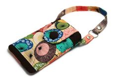 SOLD - Fabric iPhone Pouch for iPhone 5 or 5s w a handle - A Fuji Afternoon Umbrellas #KapomCrafts