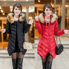 Luxury Womens Fur Coat Loose Winter 3//4 Sleeve Jacket Red Thick Muk15
