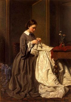 History of the Paintings Collection - Victoria and Albert Museum Oil painting, 'The Seamstress', Charles Baugniet, 1858 Art Du Fil, Sewing Art, Victorian Women, Victorian Era, Victoria And Albert Museum, Beautiful Paintings, French Paintings, Oeuvre D'art, Female Art