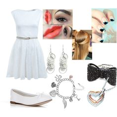 A fashion look from May 2013 featuring white dress, white flat shoes and stretch rings. Browse and shop related looks. White Flat Shoes, Music Lovers, White Dress, Fashion Looks, Heart, Polyvore, Outfits, Shopping, Dresses