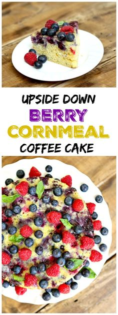 Upside Down Berry Cornmeal Coffee Cake recipe- a beautiful cake for a summer brunch or a weekend morning- add a scoop of cream on top, if you'd like!